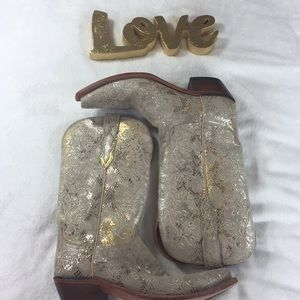Lucchese gold and silver decorated boots